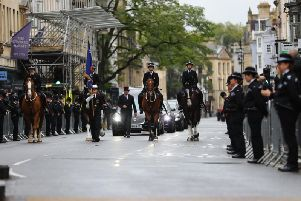 Officers from the four Yorkshire forces joined members of the public and other uniformed officersto pay their respects along the processional route.
