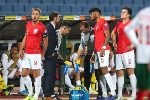 England's Tyrone Mings speaks with Gareth Southgate. Picture: Catherine Ivill/Getty Images