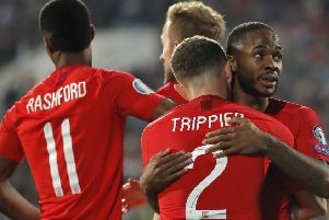 England's Raheem Sterling, right, celebrates after scoring his side's fourth goal during the Euro 2020 group A qualifying soccer match between Bulgaria and England, at the Vasil Levski national stadium, in Sofia (AP Photo/Vadim Ghirda)