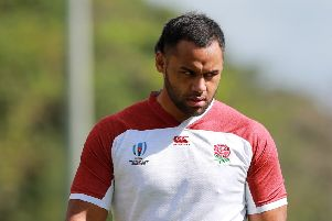 Billy Vunipola looks on during the England training session. (Photo by David Rogers/Getty Images)