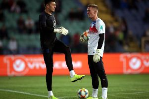 In safe hands: England goalkeepers Nick Pope and Sheffield United's Dean Henderson warm up prior to the UEFA Euro 2020 qualifying match at the Vasil Levski National Stadium, Sofia, Bulgaria.