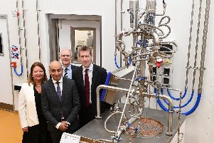 The opening of the new National Centre of Excellence for Food Engineering. (l-r) Angela Coleshill of the Food and Drink Federation, Coun Mazher Iqbal, Prof Martin Howarth and Sheffield City Region Mayor Dan Jarvis MP.