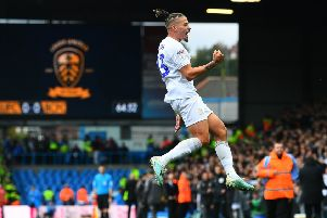 Winner: Leeds United's Kalvin Phillips celebrates scoring the winning goal. Picture: Jonathan Gawthorpe