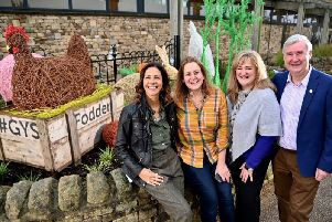Pictured left to right: Julia Bradbury, sculptor Emma Stothard, the deputy chief executive of Yorkshire Agricultural Society Heather Parry, and Yorkshire vet and Countryside Live guest Peter Wright, at the launch of the new Fodder Garden consisting of Ms Stothard's wire framed sculptors. Picture by Simon Dewhurst.