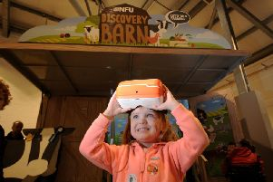 Astarla Jackson, aged four from Harrogate, pictured with the virtual reality head sets at the NFU's Discovery Barn at Countryside Live, Harrogate. Picture by Simon Hulme.