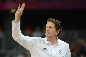 British coach Chris Finch gestures during the Men's preliminary round group B basketball match between GB and Brazil during the London 2012 Olympic Games (Picture: MARK RALSTON/AFP/GettyImages)