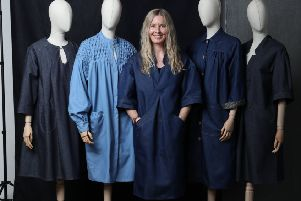 Louise Stocks-Young, founder of The Smockworks, wearing The Sunday smock, �650, as she showcases her four smock styles on dummies, from left, The Mayfield, The Honeycomb, the Patch and The Sunday. Picture by Eveline Ludlow Photography.