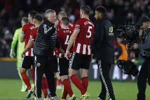 Sheffield United boss Chris Wilder congratulates his players after beating Arsenal at Bramall Lane. Picture: Simon Bellis/Sportimage