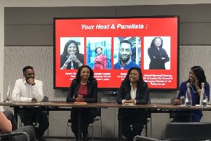 The event at PwC in Leeds featured Sonny Hanley, Abigail Marshall Katung, Griselda Togobo and Karen Finlayson.