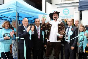 Brexit Party regional or-ordinator Roger Tattersall dresses as Guy Fawkes during the opening of the party's Doncaster office. Photo: Brexit Party