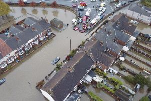 Footage shows the extent of the flooding in Doncaster. Credit: SWNS