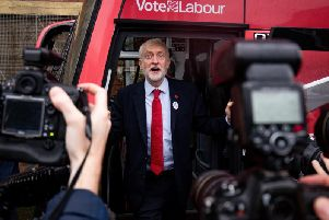 Labour leader Jeremy Corbyn unveils the Labour battle bus while on the General Election campaign trail in Liverpool. Photo: Jacob King/PA Wire