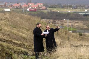 Richard Caborn (right) and Prof Keith Ridgway on the proposed site of the Advanced Manufacturing Research Centre at Waverley in Rotherham in 2002.