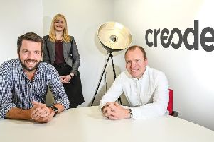 Joint managing directors of Creode, Guy Weston (left) and Ben Rees, with Sarah'Harrison of Clarion