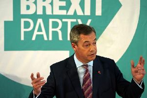 Brexit Party leader Nigel Farage speaking at the Best Western Grand Hotel in Hartlepool. Photo: Owen Humphreys/PA Wire