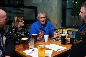 Wetherspoon founder and chairman Tim Martin visits his Beckett's Bank pub in Leeds city centre. Picture: Jonathan Gawthorpe