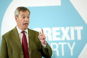 Brexit Party leader Nigel Farage addresses supporters at Ionians RUFC in Hull during General Election campaigning. Pic: PA