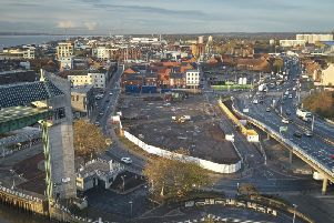 Drone footage of the development site for the Arco head office and multi-storey car park in Hulls Fruit Market Picture: Meehan Media
