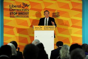 Liberal Democrat Deputy Leader Ed Davey makes a speech on the party's economic plans at Brewery Wharf in Leeds