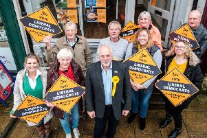 Liberal Democrat Parliamentary Candidate for Richmond, Philip Knowles, with supporters. Photo: Photo: Guy Carpenter/Gullwing Photography
