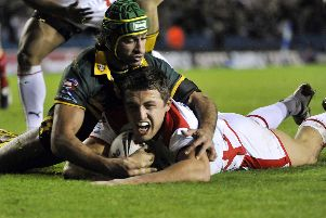 England's Sam Burgess scores against Australia in the 2009 Four Nations final