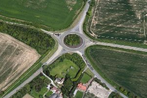 Aerial view of the Killingwoldgraves roundabout - on the junction of the A1174 York Road, the A1079 to York and Hull, the A1035 and Killingwoldgraves Lane