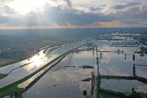 An aerial photo of the floodwater at Fishlake.