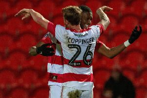 Rakish Binhgam celebrates scoring Rovers' second goal with James Coppinger.  Picture Bruce Rollinson