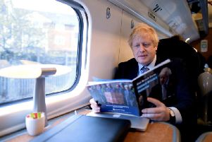 Boris Johnson  en route to Telford for the launch