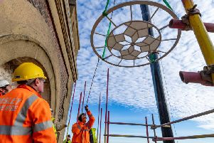 Crane Hire operator Emsley were lifting four restored dials back into the Terry's of York Clock Tower. Picture: James Hardisty