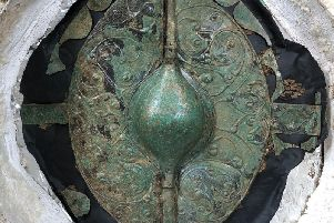 "The conserved bronze shield found at Pocklington which has been hailed as ""the most important British Celtic art object of the millennium"""