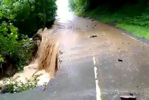 Flooding between Grinton and Leyburn after the Dales was hit by a deluge in July.