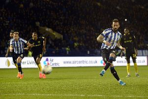 Steven Fletcher converts from the penalty spot for the equalising goal.    Pics: Steve Ellis