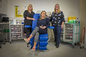 Dr Leanne Atkin, vascular nurse consultant at Pinderfield Hospital, is trying to raise awareness with the Legs Matter campaign of how poor-quality healthcare for leg and foot conditions is leading to limb amputations which could have been avoided. with former patients double leg amputee�Kara Keal, seated, and Tracy Goodwin, right. Picture Tony Johnson