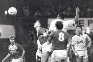 Leeds United defender Chris Fairclough scores at Middlesbrough in his side's 2-0 win on December 9, 1989 - on an afternoon remembered for a crush in the away end at Ayresome Park.