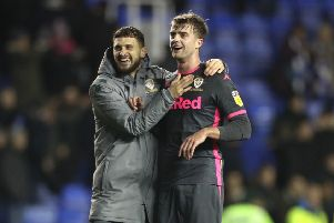 Leeds United's Patrick Bamford, right, celebrates the win over Reading at the Madejski Stadium with Mateusz Klich. Picture: Bradley Collyer/PA
