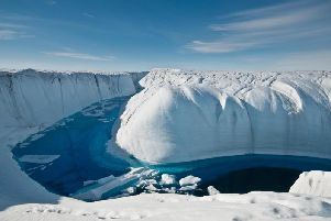 A meltwater canyon on the Greenland ice sheet. Credit: Ian Joughin/University of Washington/PA Wire