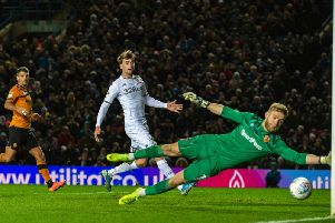 Hull City goalkeeper George Long is unable to keep out a deflection of Jordy de Wijs which put Leeds United 1-0 up
