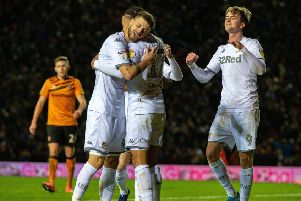 Deadlock broken: Helder Costa celebrates the own goal against Hull City with his Leeds United team-mates Mateusz Klich and Patrick Bamford. (Picture: Bruce Rollinson)