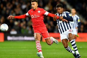 Barnsley's Jacob Brown, pictured in action in the Championship game at West Brom: PICTURE: PA WIRE.