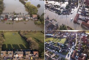 Pictures show how the village looked before and after the rain hit