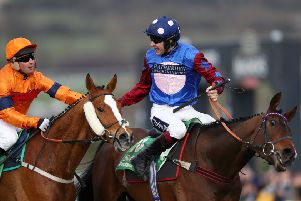 Paisley Park (right) won this year's Stayers' Hurdle from Sam Spinner.
