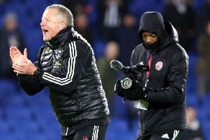 Sheffield United manager celebrates his team's victory at Brighton. Picture: PA
