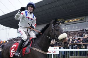 Hary Cobden celebrates the 2018 King George VI Chase of Clan Des Obeaux for trainer Paul Nicholls. This year he partners stablemate Cyrname.