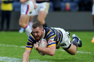 Cameron Smith try for Leeds Rhinos. Picture: Steve Riding