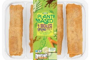 Asda's new vegan range includes Duckless Spring Rolls, Cheese and Chive Potato Skins, and Smoky Tofu Burritos.