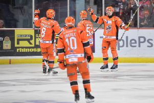 Josef Hrabal celebrates his first goal for Sheffield Steelers in the 6-2 win against Guildford Flames on Saturday. Picture courtesy of Dean Woolley.