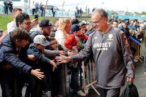Leeds United manager Marcelo Bielsa arrives at the Sky Bet Championship match at Elland Road, Leeds. Picture: PA