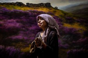 Artist Judith Levin with one of her mesmerising Yorkshire landscapes. Photograph: James Hardisty.