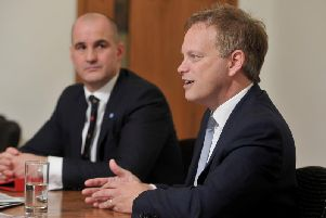 Transport Secretary Grant Shapps and Northern Powerhouse Minister Jake Berry at the Yorkshire Post's offices.